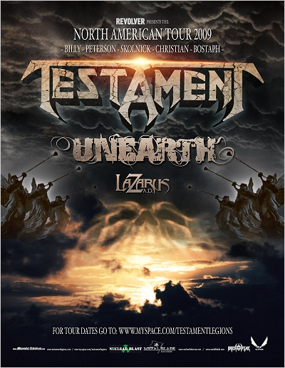 Testament U.S. Headlining Tour 2009 flyer