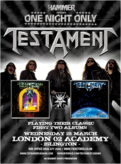 Testament London 02 Academy - Islington Show 3/25/09 flyer