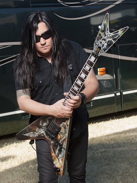 Eric Peterson with his Dean 'Hunter' Signature Guitar