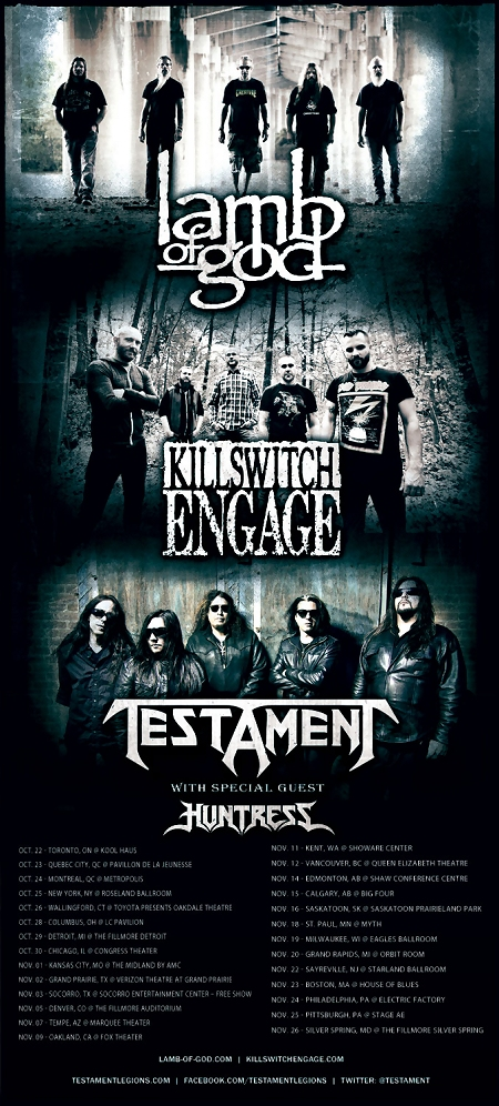 Lamb Of God Killswitch Engage Testament And Huntress